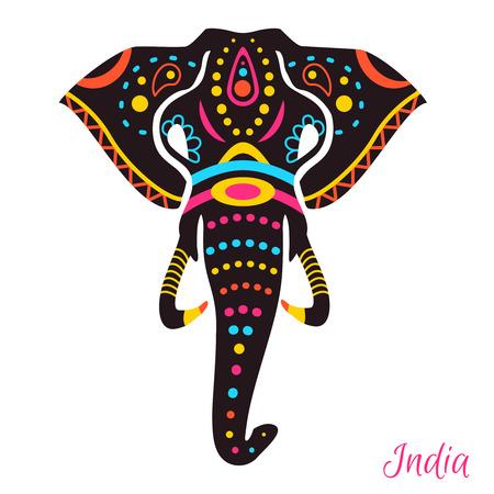 siluetas de elefantes: La cabeza del elefante indio con el dibujo. Ilustración vectorial
