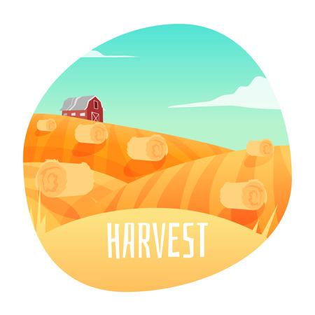seeding: Farm Landscape. Stage in harvest . Vector illustration