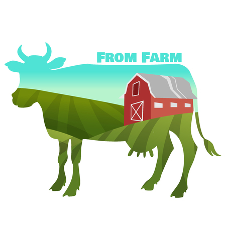 cows red barn: Farm Landscape Concept in cow silhouette. vector illustration