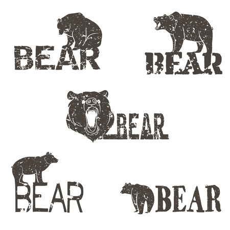 logotypes: Collection of bear logotypes with grunge design.