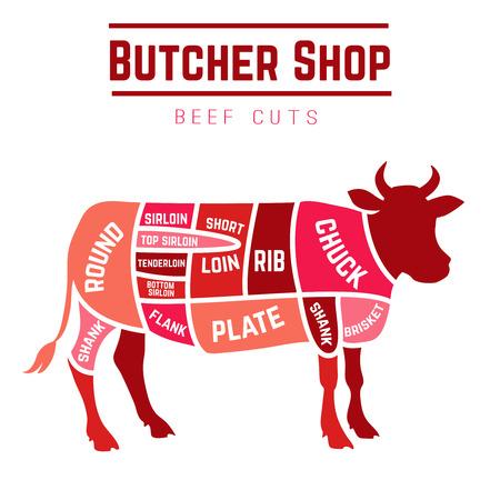 carne asada: Cortes de carne de la carnicería. Ilustración vectorial