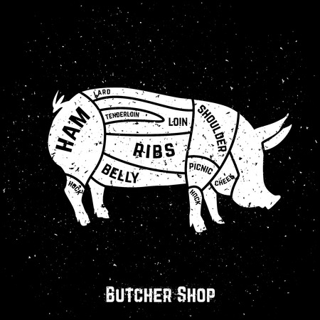 Cuts of pork with grunge style . Vector Illustration  イラスト・ベクター素材