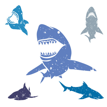 Set of big sharks with grunge style. Vector illustration.