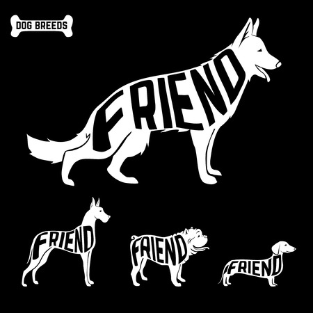 best shelter: Dogs silhouettes with text inside. isolated, friendship concept. Vector illustration