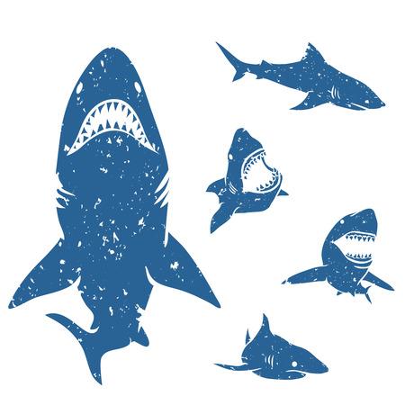 グランジ スタイルで大きなサメのセットです。ベクトルの図。  イラスト・ベクター素材