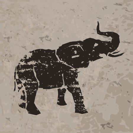 siluetas de elefantes: Elefante dibujo en la roca. Ilustración vectorial