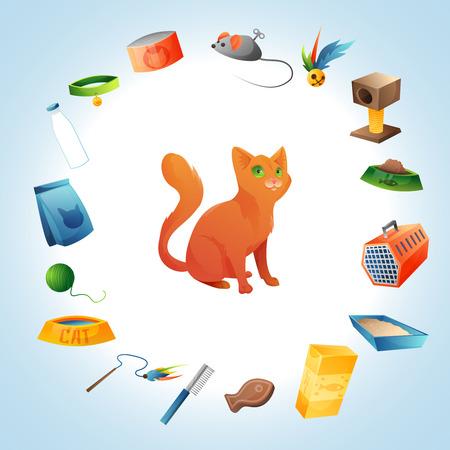 toy toilet bowl: Cat care stuff concept background. Vector illusatrtion