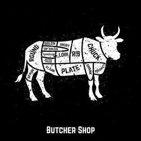 肉屋は牛肉をカットします。ベクトル イラスト