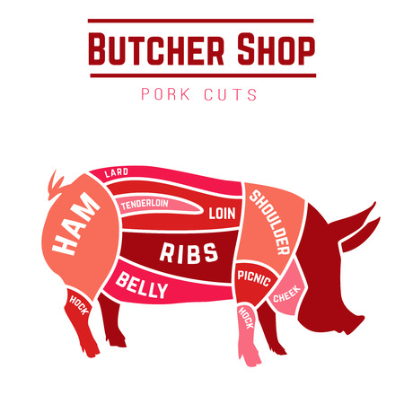 Cuts of pork with different colors. Vector Illustration