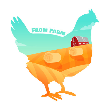 aves de corral: Gallina con el fondo de la granja en el interior. Concepto de productos frescos de granja. Ilustración vectorial Vectores