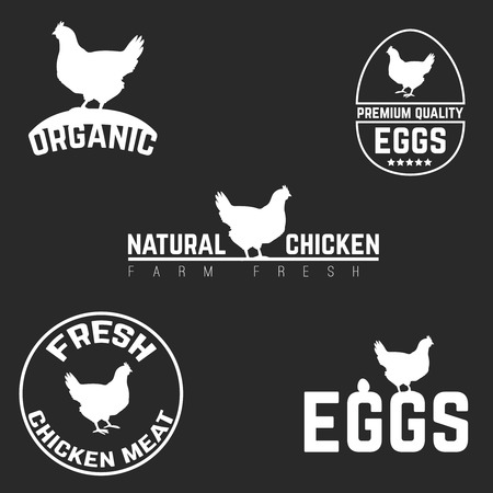 chicken: Set chicken and eggs farm logo emblem. Natural and fresh farm. Vector illustration