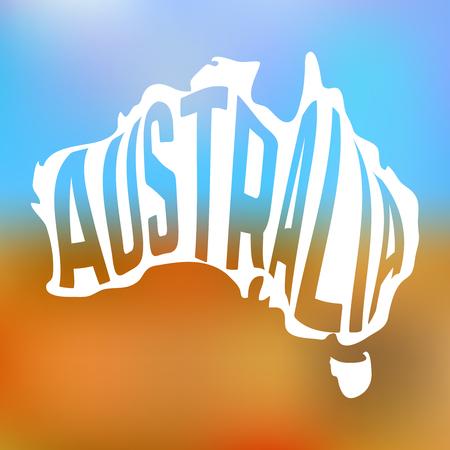 innen: Australian Karte mit Text in auf Blur Hintergrund. Vektor-Illustration