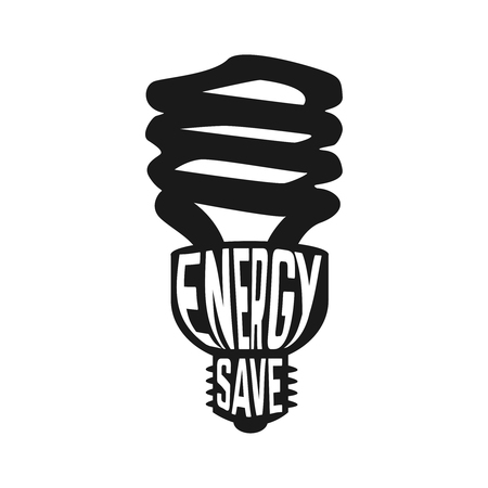 lamp silhouette: Black silhouette of lamp with text inside enegry saving concept. Vector illustration Illustration