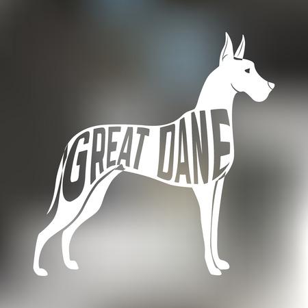 グレートデーン犬犬シルエットにカラフルな背景をぼかした写真の創造的なデザイン