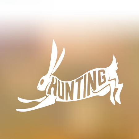 wildlife shooting: Creative design of running rabbit inside hare silhouette on colorful blurred background with text hunting