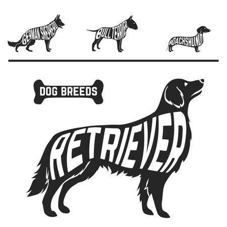 異なった犬の品種シルエット分離黒白い背景の上のセット