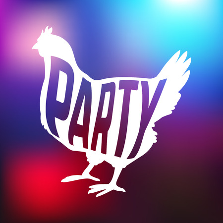 Hen party with chicken silhouette and text Illustration