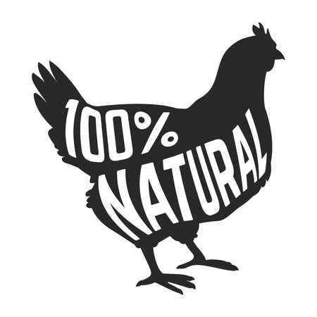 hen  farm: Silhouette of farm Hen black with text inside on white background isolated