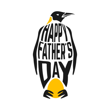 penguin: Happy fathers day congratulation illustration with penguin and his egg