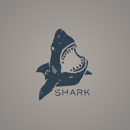 Tiburón con la ilustración de estilo grunge Ilustración de vector
