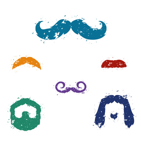 Mustache set with grunge style and texture. Vector illustration