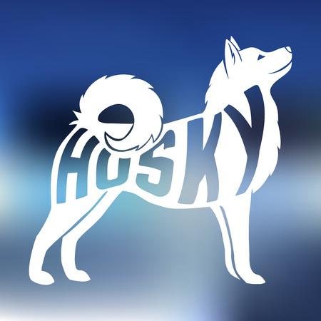 中犬 silhouetteon カラフルな品種の名前の創造的なデザインには、背景がぼやけています。ベクトルの図。