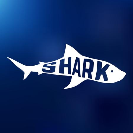 squalo bianco: White shark silhouette con testo all'interno. Concetto. Illustrazione vettoriale