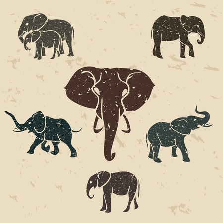 Elephants set with grunge design. with texture of rock. Vector illustration Illustration