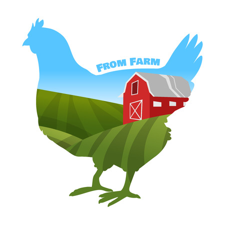 Hen with farm background inside. Concept of fresh farm products. Vector illustration