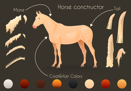 constructor: Create your own design with horse constructor. Vector illustration