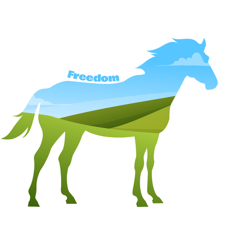 gelding: Concept of horse silhouette with text on field background. Vector illustration