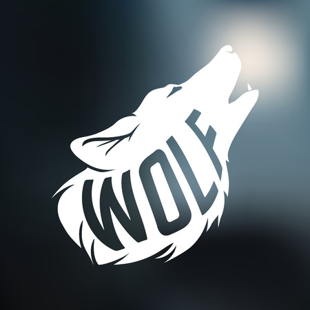 Wolf silhouette with concept text inside wolf on blur background. Vector illustration Illustration