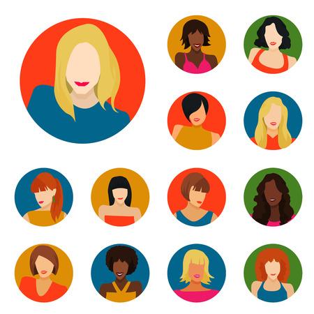 redhead woman: Set of female portraits icons. Vector Illustration Illustration
