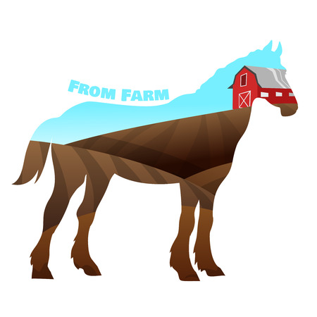 nostrils: Concept of horse silhouette with text on farm background. Vectr illustration