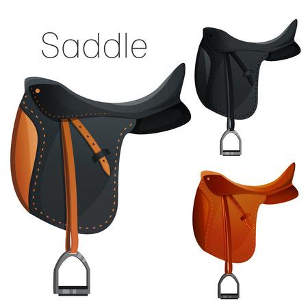 saddle: Set of equestrian equipment for horse. Saddle, bridle, Stirrup, Girth, Snaffle , Lead, Protection boots, Horseshoes, Blanket, Ear Net, Saddle pad, etc.