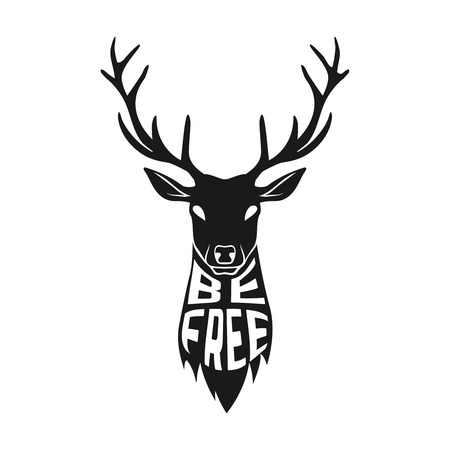 free spirit: Concept silhouette of deer head with text inside be free on white background.