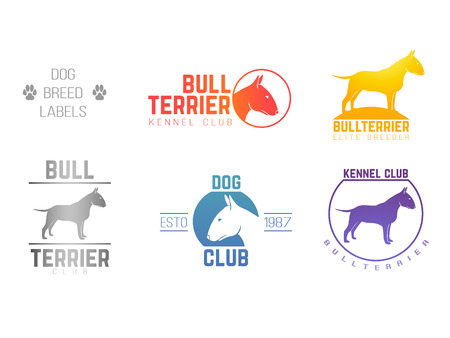 toy terrier: design labels set of bill terrier god breed for kennels, breeders, clubs