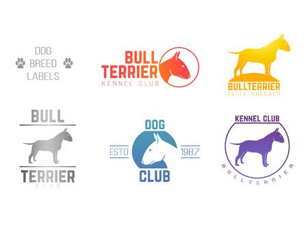 design labels set of bill terrier god breed for kennels, breeders, clubs