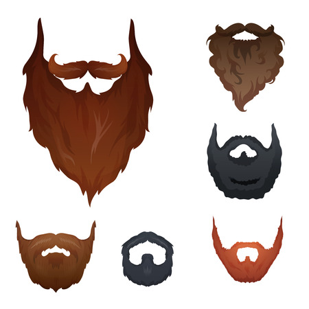 Different style of beard set vector. Vector illustration