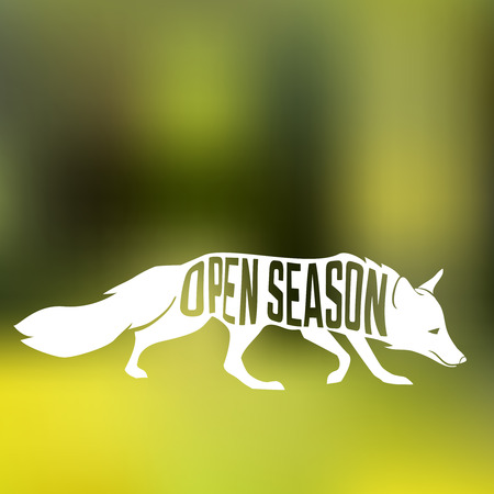 phase: Fox silhouette with concept phase Open Season inside on blur background of forest. Vector illustration