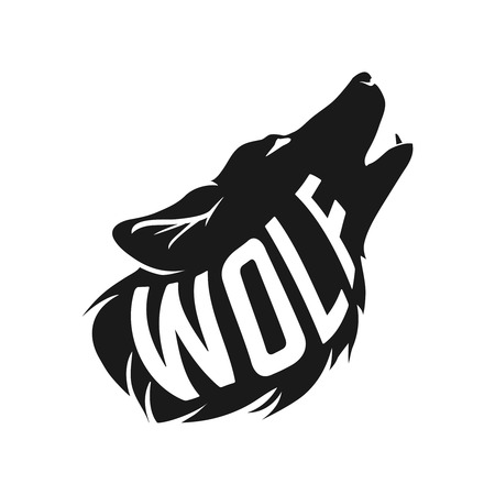 Wolf silhouette with concept text inside Born to be wild on white background. Vector illustration