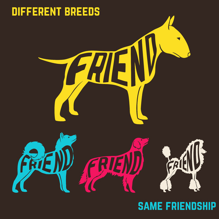 breeds: Set of dog breeds silhouettes with text inside. Vector illustration Illustration