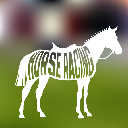 Concept of racing horse silhouette with text inside on blur background. Vector illustration