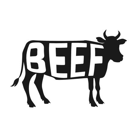 vaca: Diseño creativo de poder dentro de la silueta de la vaca aislado negro sobre fondo blanco. Ilustración vectorial