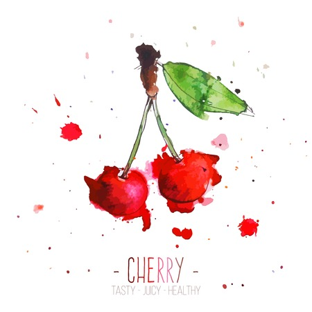cherries isolated: Watercolor cherries with splashes in free style. Fresh and juicy colors. Hand drawn isolated on white background. Vector illustration