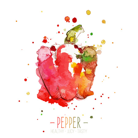 red pepper: Watercolor red pepper with splashes in free style. Fresh and juicy colors. Hand drawn isolated on white background. Vector illustration