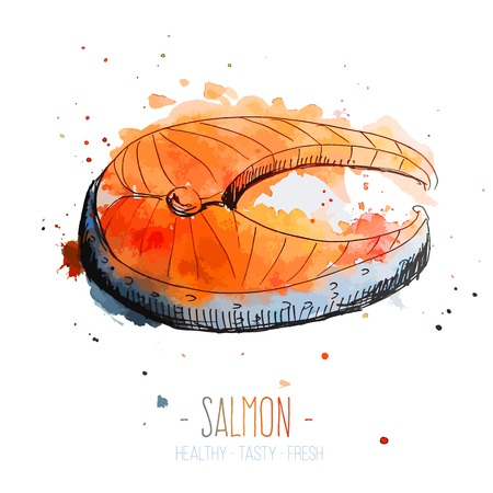 contemporary taste: Watercolor salmon steak with splashes in free style. Hand drawn isolated on white background. Fresh and juicy colors. Vector illustration.