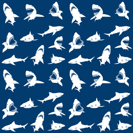 Sharks silhouettes seamless pattern. white on blue Background. Vector illustration Vettoriali