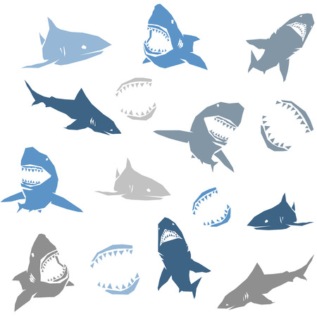 biting: Sharks silhouettes seamless pattern. Isolated blue on white Background. Vector illustration