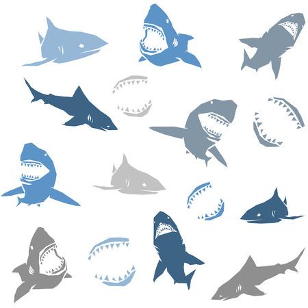 shark cartoon: Tiburones siluetas sin patrón. Azul sobre fondo blanco. Ilustración vectorial